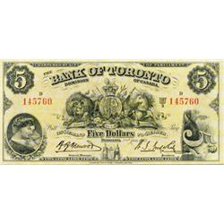 THE BANK OF TORONTO. $5.00. Jan. 2, 1935. CH-715-24-02. No. 145760/D. BCS graded Very Fine-30. Desig