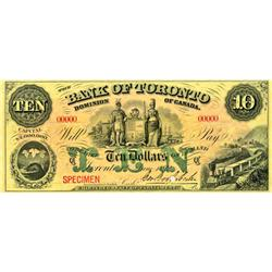 THE BANK OF TORONTO. $10.00. June 1, 1892. CH-715-22-26S. A SPECIMEN. Serial No. 00000 in red. Ex. T