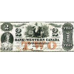 THE WESTERN BANK OF CANADA. $2.00. 1859 Issue. CH-795-10-08. No. 81/B. PMG graded AU-53.