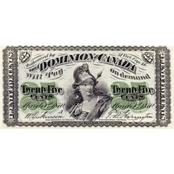 DOMINION OF CANADA.  25 CENTS. March 1, 1870. Letter 'A' under date. DC-1a. A bright and choice AU+.