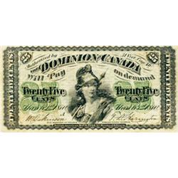 DOMINION OF CANADA.  25 CENTS. March 1, 1870. Letter 'A' under date. DC-1a. PMG graded FINE-15.
