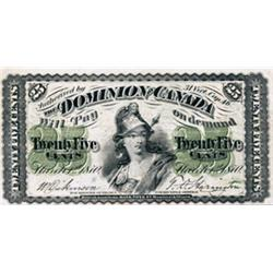 DOMINION OF CANADA.  25 CENTS. March 1, 1870. Letter 'B' under date. DC-1b. PMG graded Very Fine-25.