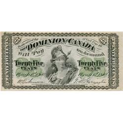 DOMINION OF CANADA.  25 CENTS. March 1, 1870. DC-1b. Large '.' VF;  DC-1b. Small 'B'. Fine+; DC-1c.