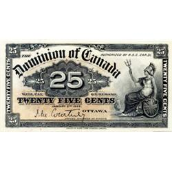 DOMINION OF CANADA.  25 CENTS. Jan. 2, 1900. DC-15a. Courtney. Choice UNC-63. Ex. TOREX. June 21-22,