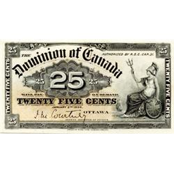 DOMINION OF CANADA.  25 CENTS. Jan. 2, 1900. DC-15a. Courtney. Choice Unc-63. Ex. TICF. Sept. 30, 20