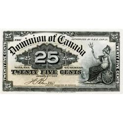 DOMINION OF CANADA.  25 CENTS. Jan. 2, 1900. DC-15b. EF; 25 CENTS. July 2, 1923. DC-24b. No. 080874/