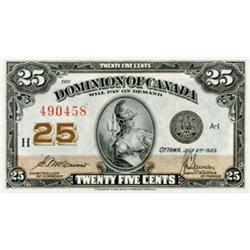 DOMINION OF CANADA.  25 CENTS. July 2, 1923. DC-24c. McCavour-Saunders. No. 490458. Check Letter 'H'