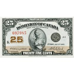 DOMINION OF CANADA.  25 CENTS. July 2, 1923. DC-24d. Campbell-Clark. No. 697985. Check Letter 'K'. C