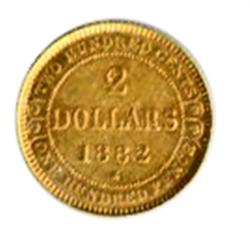 1882-H.  Extra Fine-45.  Yellow-orange golden luster.