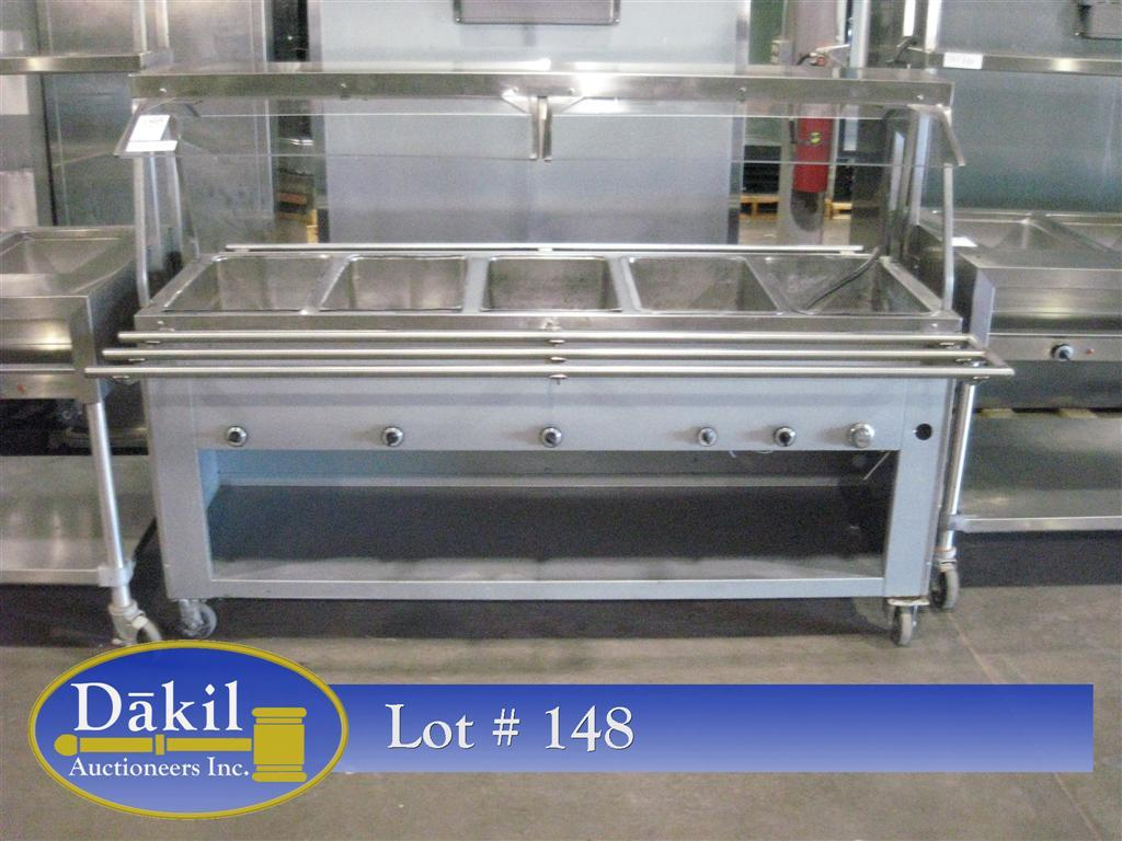 5 well stainless steel castered steam table w sneeze guards tray slides - Sneeze guard for steam table ...