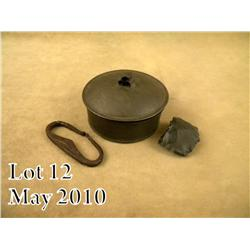 "American Revolutionary War era circular tin  ""tinderbox"" with iron striker and flint with the  tinde"