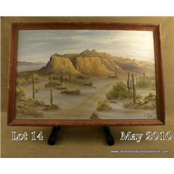 "Framed original oil on board painting approx. 22""  x 33"" signed ""F. Paul"" depicting a desert scene"