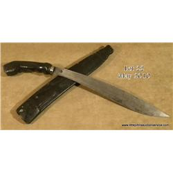 "Southeast Asian/Montagnard  curved blade short  sword with wood scabbard, approx. 22"" overall with"