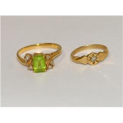 AAA Peridot Ladies Ring & Diamond Pinky Ring