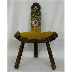 Carved Wooden 3 Leg Birthing Chair