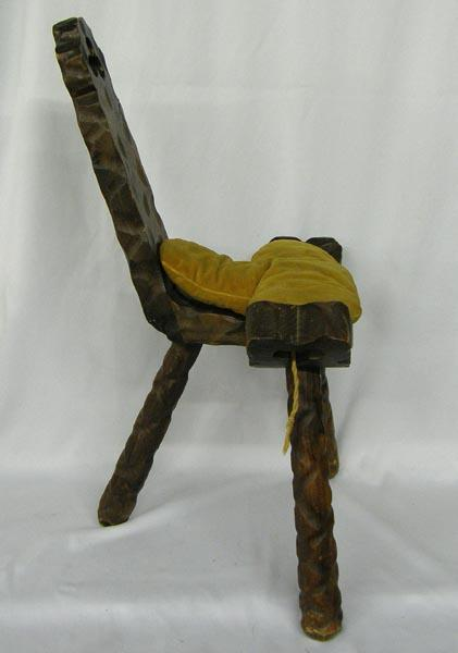 - Carved Wooden 3 Leg Birthing Chair