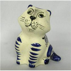 Jalisco Mexico Cobalt Pottery Cat Figure