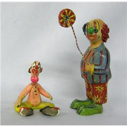 2 Mexican Painted Clay Clown Figures