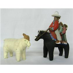 2 Navajo Folkart Statues, Sheep and Horse Riders