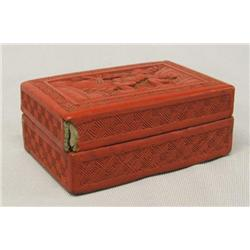 Chinese Red Carved Jewelry Box