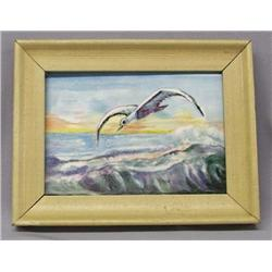 Framed Hand Painted Tile of Flying Seagull