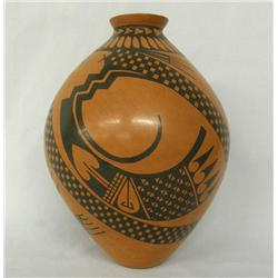 Mata Ortiz Black on Red Pottery Jar by Faby Jeloz