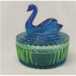 Blue Swan Glass Powder Jar