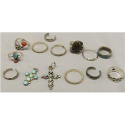 12 Silver Turquoise Rings, 2 Turquoise Crosses