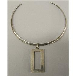 Sterling Silver Neck Bracelet With Pendant