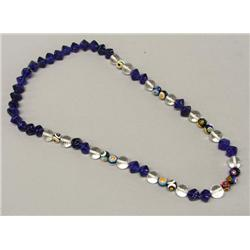 Cobalt Blue Crystal and Millefiori Bead Necklace