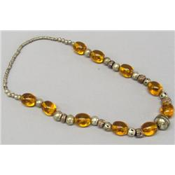 Chinese Yellow Amber African Trade Bead Necklace