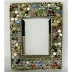 Vintage Woven Metal Beaded Picture Frame
