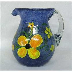 MX Hand Painted Glass Pitcher By Kills Thunder