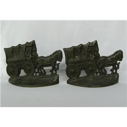 Pair Cast Iron Conestoga Wagon Book Ends