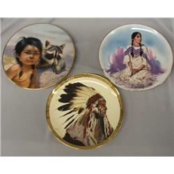 3 Indian Motif Collector Plates 8.5'' Diameter