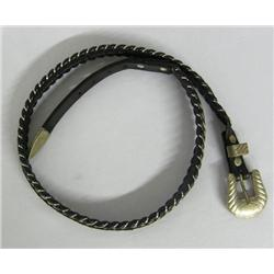 Leather Horse Hair Belt German Silver Buckle