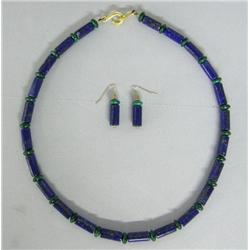 Lapis Malachite Necklace & Earrings