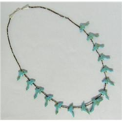 Navajo Heishi & Turquoise Dolphin Fetish Necklace