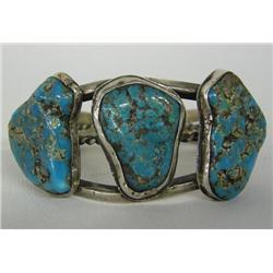 Navajo Old Pawn Silver Turquoise Bracelet