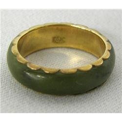 14Kt Gold Jade Ring Size 8