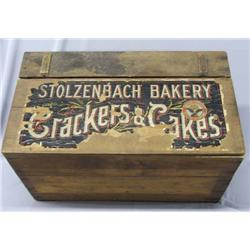 Antique Stolzenbach Cakes And Crackers Wood Box