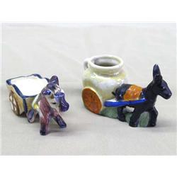 Occupied Japan Small Donkey Wagon Ceramic Figures