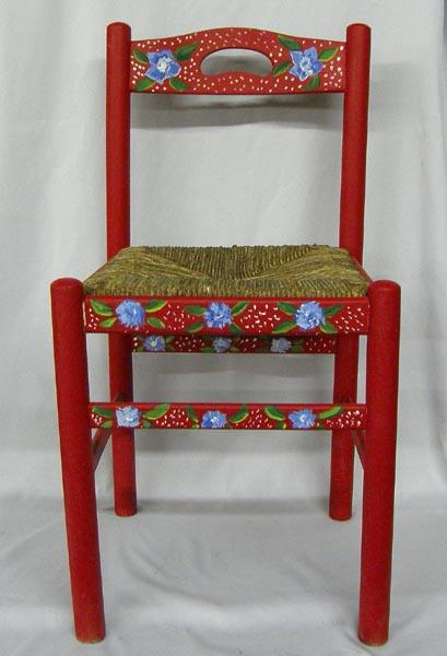 Image 1 : Hand Painted Wooden Chair With Woven Seat ...
