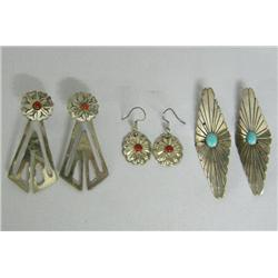 3 Pr Navajo Silver Turquoise Coral Earrings