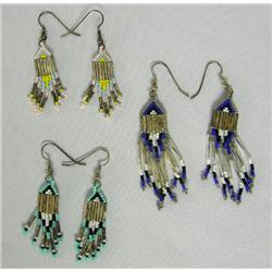 3 Pr Paiute Beaded Pierced Earrings