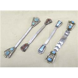 4 Navajo Silver Turquoise Coral Watch Bands