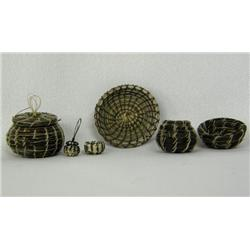 6 Papago Miniature Horsehair Woven Baskets