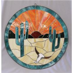 Stained Glass Round Desert Scene 19'' Diameter