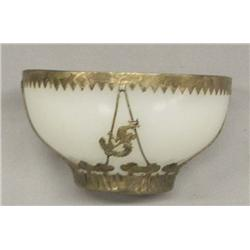 Chinese Clambroth Glass & Silver Dragon Bowl