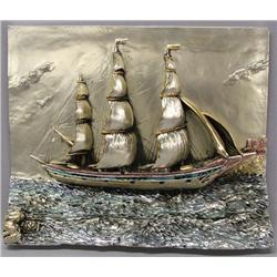 Silver Foil on  Metal Ship Sculpture by Manuel